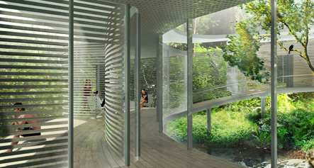 Zoka Zola, Rafflesia Zero Energy Home in tropical climate, green tropical home, view of terrace and living room, courtyard