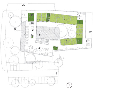 zoka Zola, nursing home, courtyard floor plan