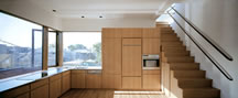 Zoka Zola, Pfanner House, kitchen, dining, view of the city, large window, stainless steel countertop