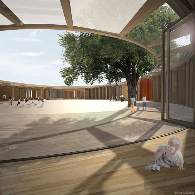 Zoka Zola, prototypical Kindergarten, central circular courtyard, powerful space, wooden structure